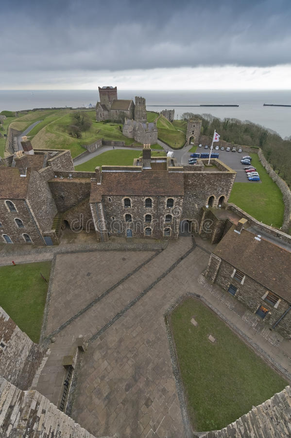 Dover castle view from keep. Over the channel stock photography