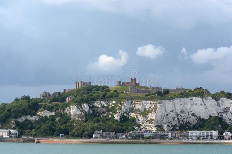 Dover Castle and the white cliffs stock image