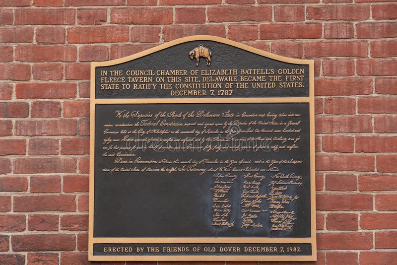 Sign at the site of the Golden Fleece Tavern in First State National Historical Park stock photos