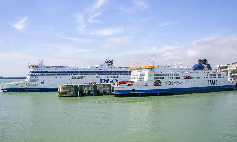 Cross Channel Ferries Spirit of Britain and Pride of Kent at Dover Harbour stock images