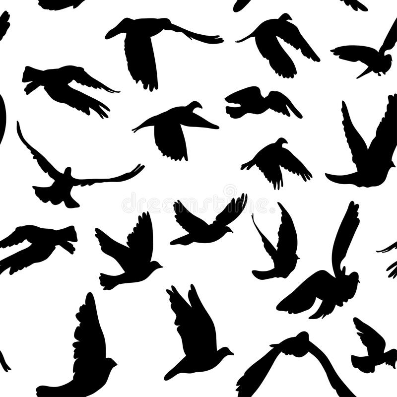 Free Doves And Pigeons Seamless Pattern For Peace Concept And Wedding Design Royalty Free Stock Image - 44631906