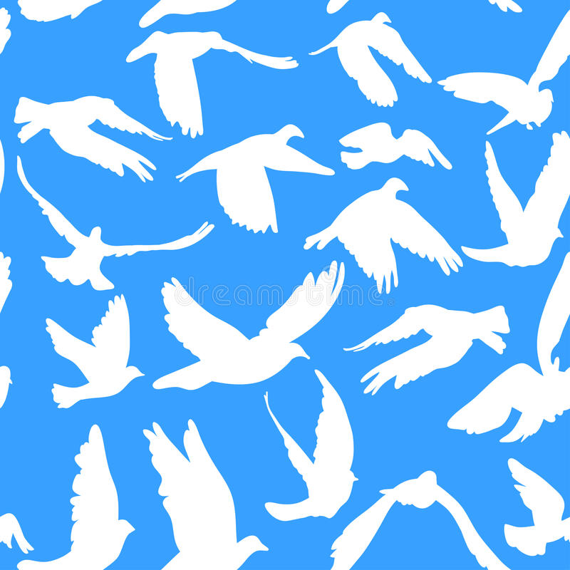 Free Doves And Pigeons Seamless Pattern On Blue Background For Peace Concept And Wedding Design. Royalty Free Stock Photos - 44631918
