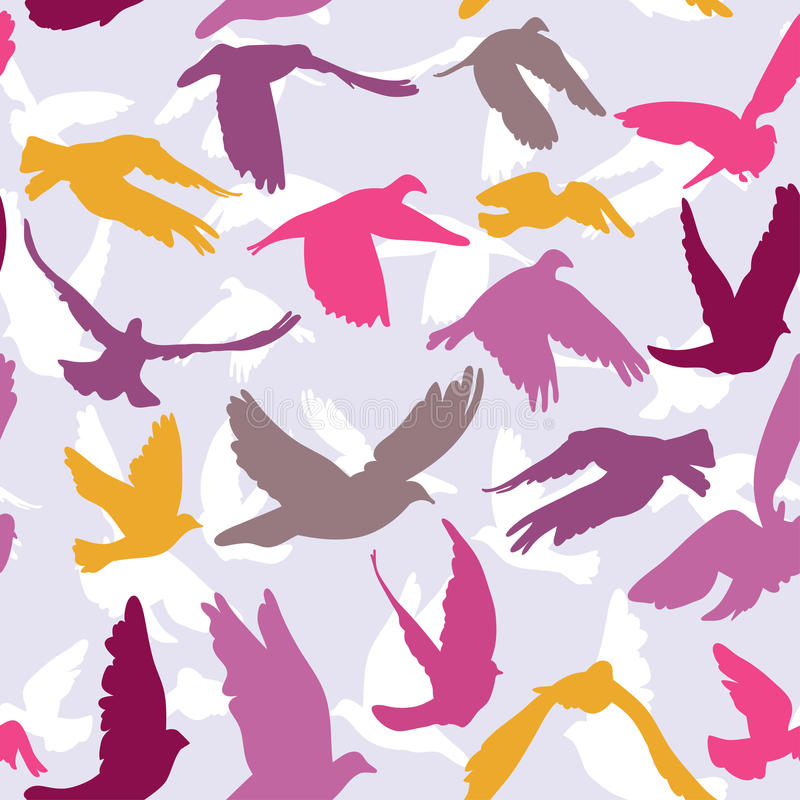 Free Doves And Pigeons Seamless Pattern On Lilak Background For Peace Concept And Wedding Design. Royalty Free Stock Photography - 44631877