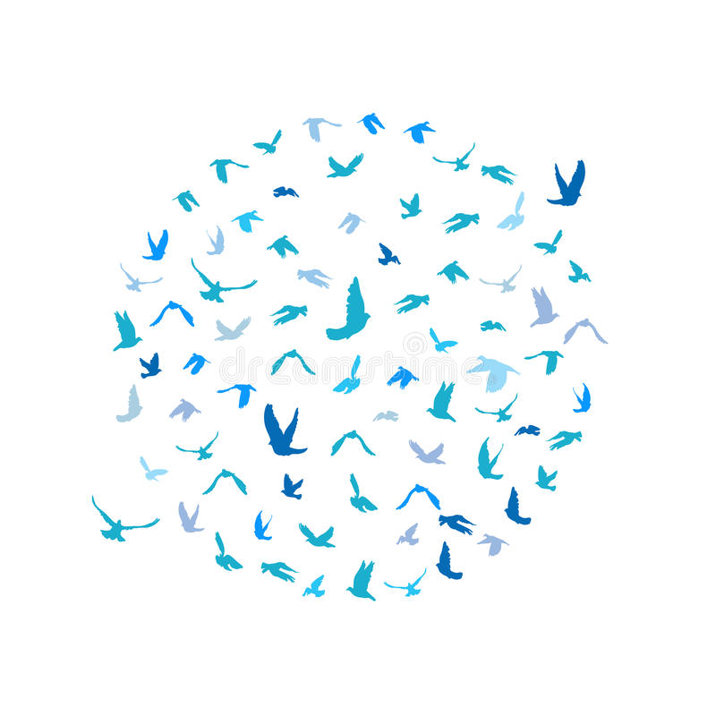 Free Doves And Pigeons Set In A Circle For Peace Concept And Wedding Design. Flying Blue Birds Sketch Set. Vector Royalty Free Stock Images - 56931539