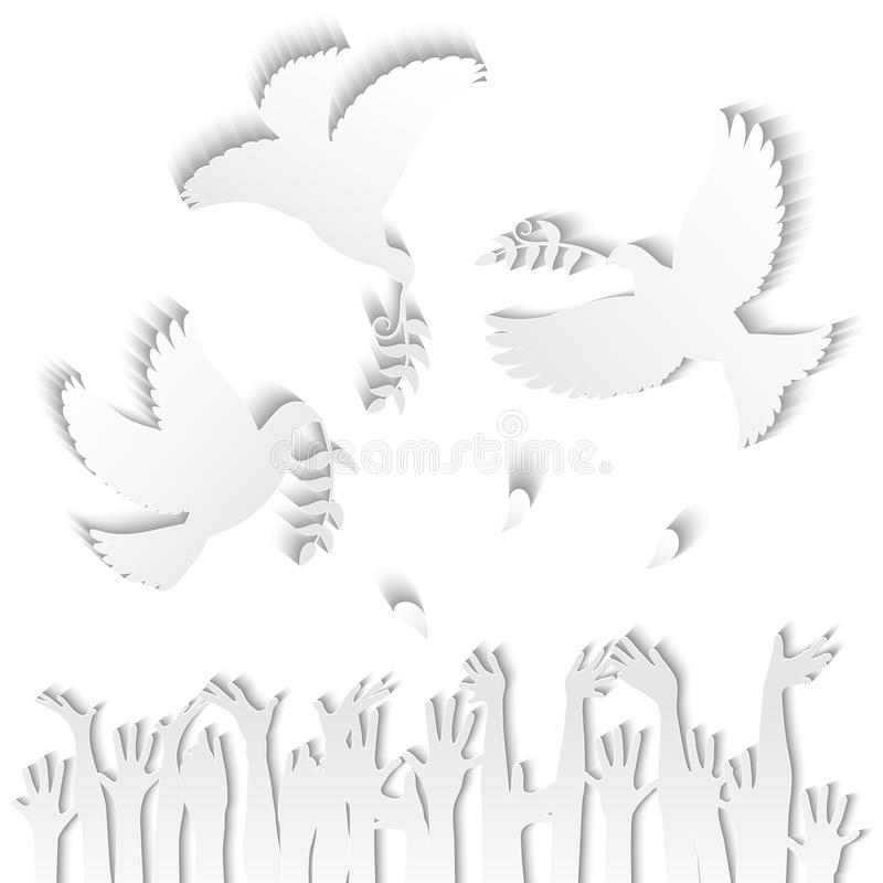 Doves bearing an olive branch royalty free illustration