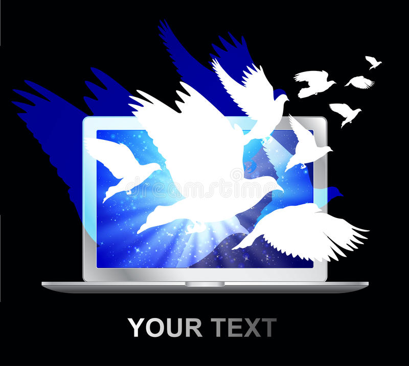 doves fly laptop screen stock illustrationer