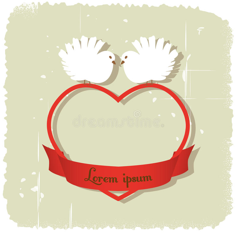 Download Doves on heart stock vector. Illustration of ribbon, design - 48157581