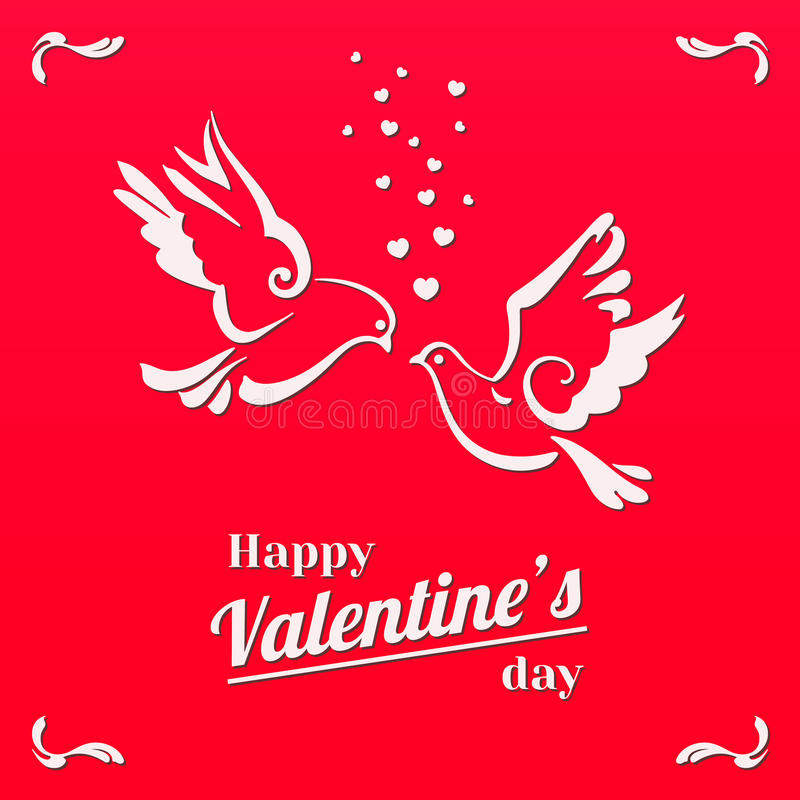 Doves with hearts isolated on red background vector illustration