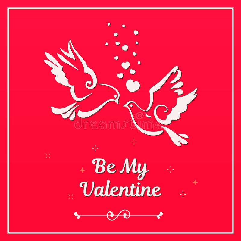 Doves with hearts on red background stock illustration