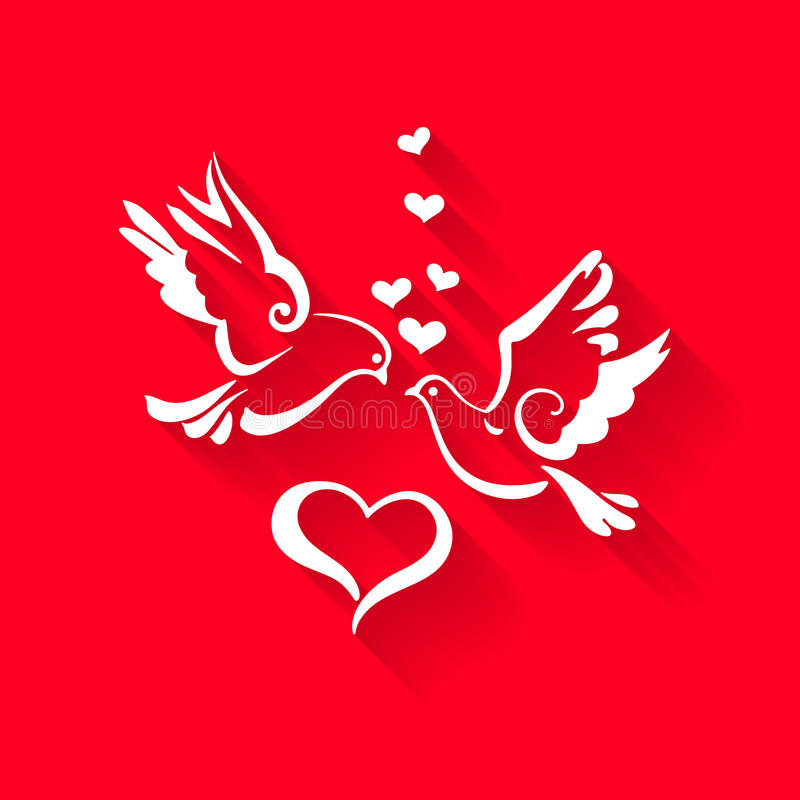Doves with hearts on red background royalty free illustration