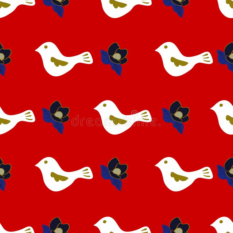 Doves and Magnolias Christmas Collection is Coming Seamless Repeat Pattern Vector Print royalty free illustration