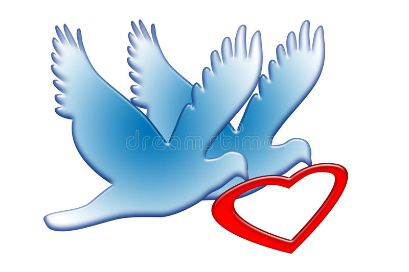 Doves with Red Heart. Couple of blue romantic doves with red heart isolated over white background vector illustration