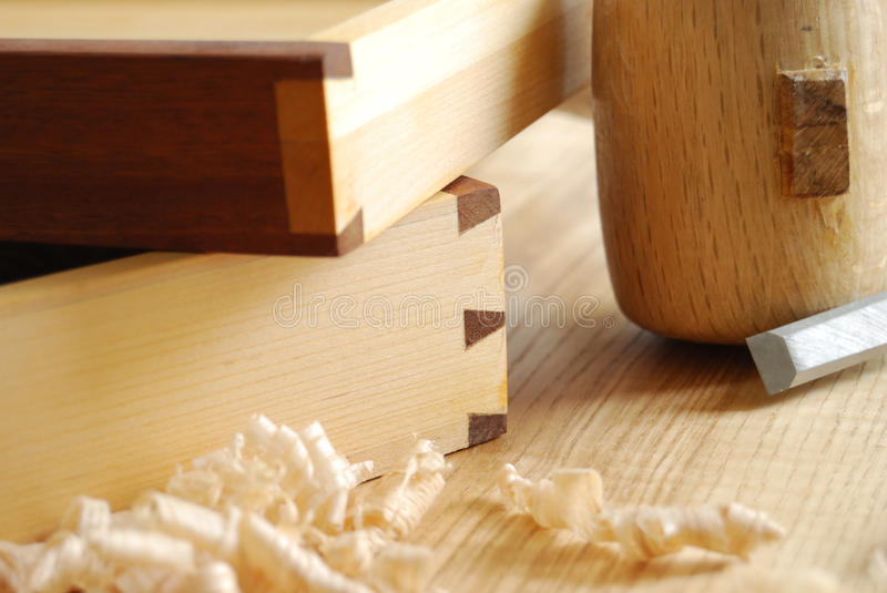 Dovetailed joint. Details of a dovetailed joint on two little drawers stock images