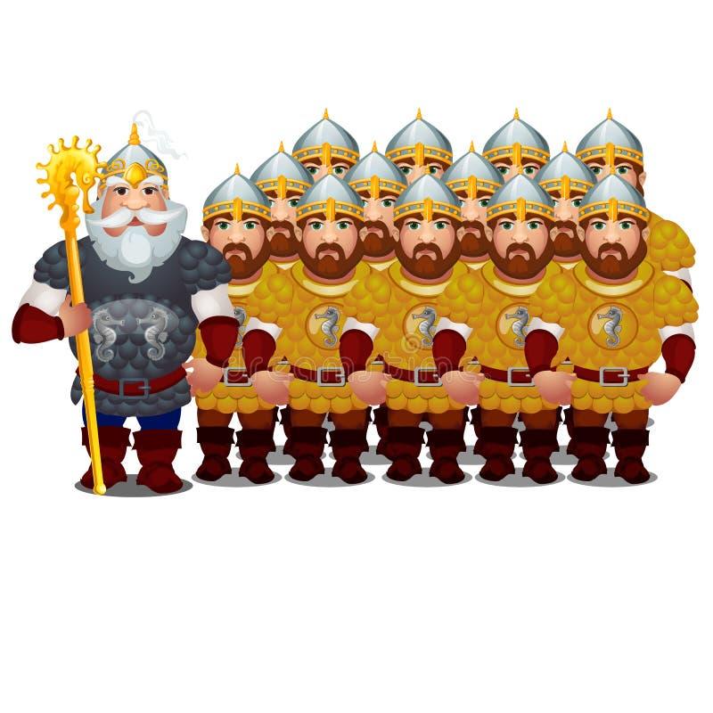 Dowódca z wojskiem epiccy bohaterzy Rosyjski folklor i ludowe bajki odizolowywający na białym tle Wektorowy kreskówki zakończenie ilustracji