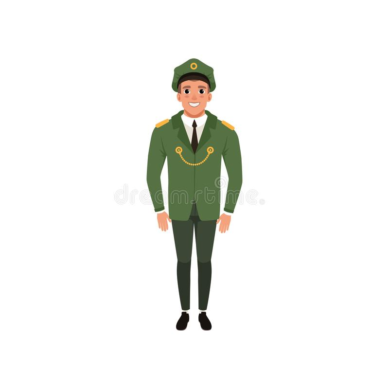 Dowóca wojskowy w formalnej odzieży: zielona kurtka, spodnia i osiągająca szczyt nakrętka, Militarny temat Postać z kreskówki mło ilustracja wektor