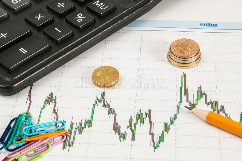 Dow Jones Business chart with calculator, paper clips, coins and pencil royalty free stock photo