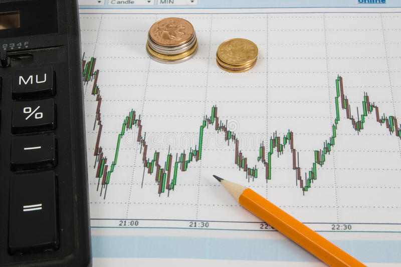 Dow Jones Business chart with calculator, paper clips, coins and pencil stock photography