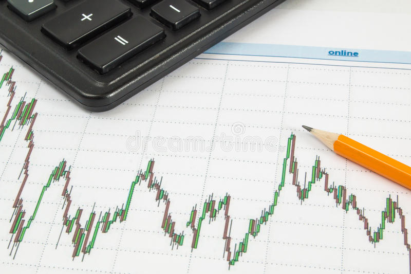 Dow Jones Business chart with calculator and pencil indicates the maximum stock photos