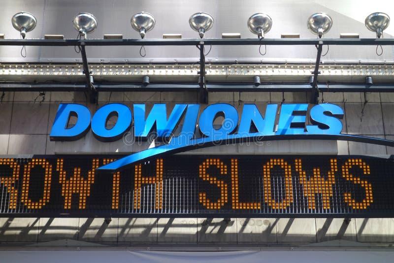 Dow Jones News Ticker arkivfoton