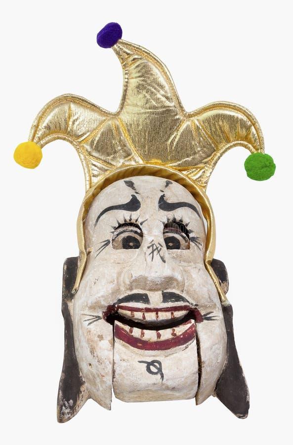 Dowcipnisia kapelusz na Dziwacznej drewno masce zdjęcia royalty free