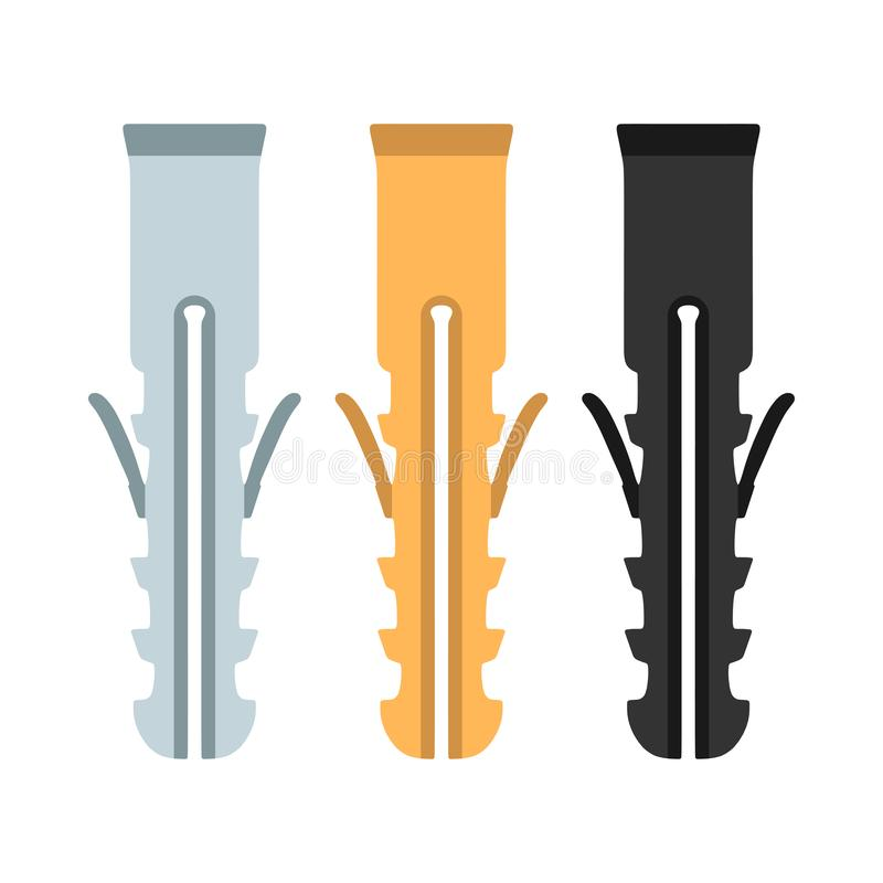 Dowel set carving sharp screw construction wall bolt vector icon. Equipment tool industry repair fix flat plastic pin anchor royalty free illustration