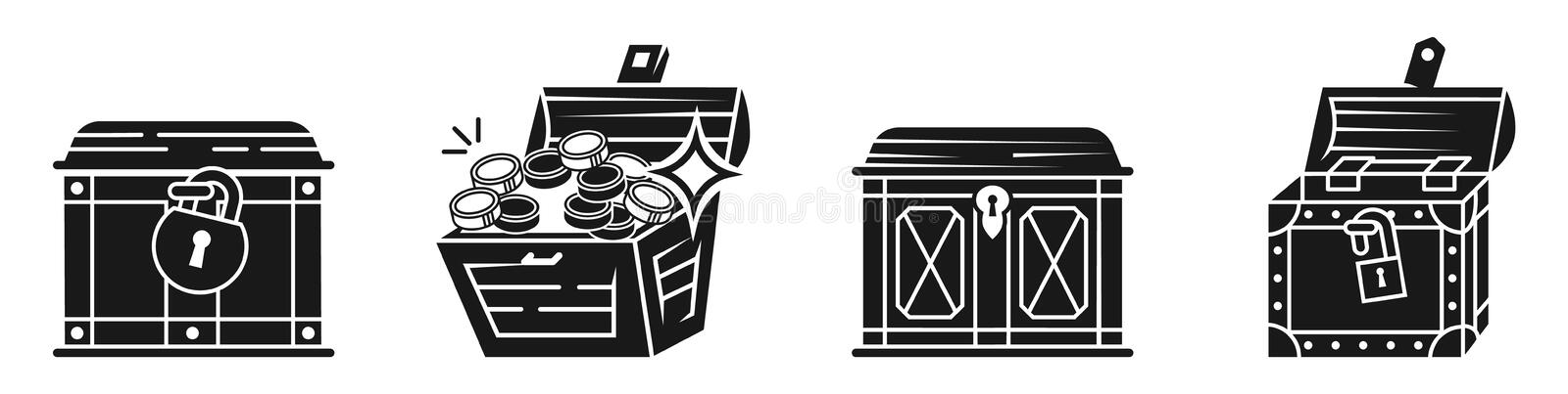 Dower chest icons set, simple style. Dower chest icons set. Simple set of dower chest vector icons for web design on white background stock illustration
