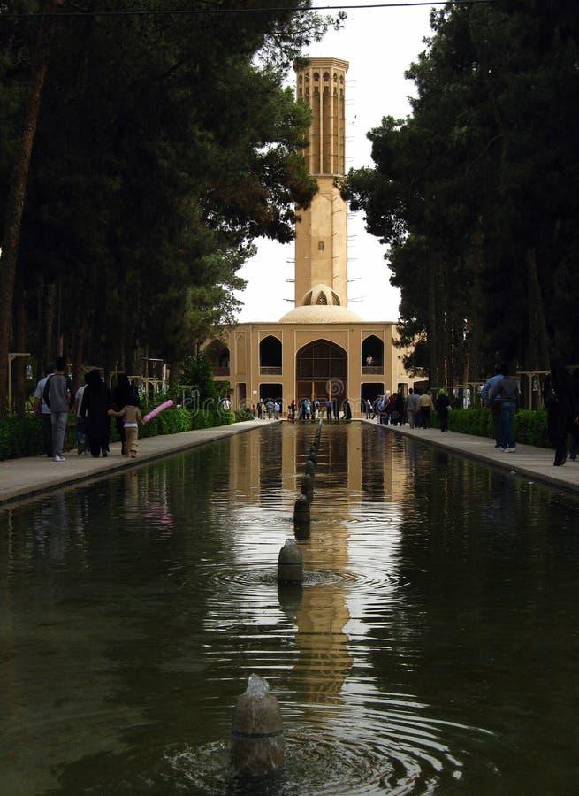 Dowlat Abad庭院在亚兹德,伊朗 库存照片