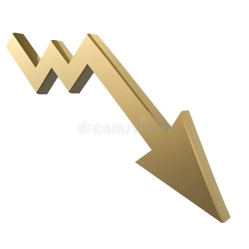 Down arrow. Golden drop down arrow