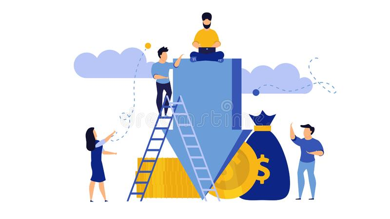 Down arrow decrease vector interest discount rate percent low. Man and woman with coins and money illustration concept graph chart stock illustration