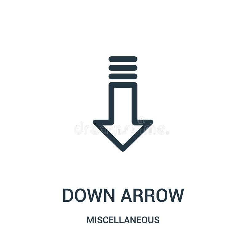 down arrow icon vector from miscellaneous collection. Thin line down arrow outline icon vector illustration. Linear symbol for use stock illustration