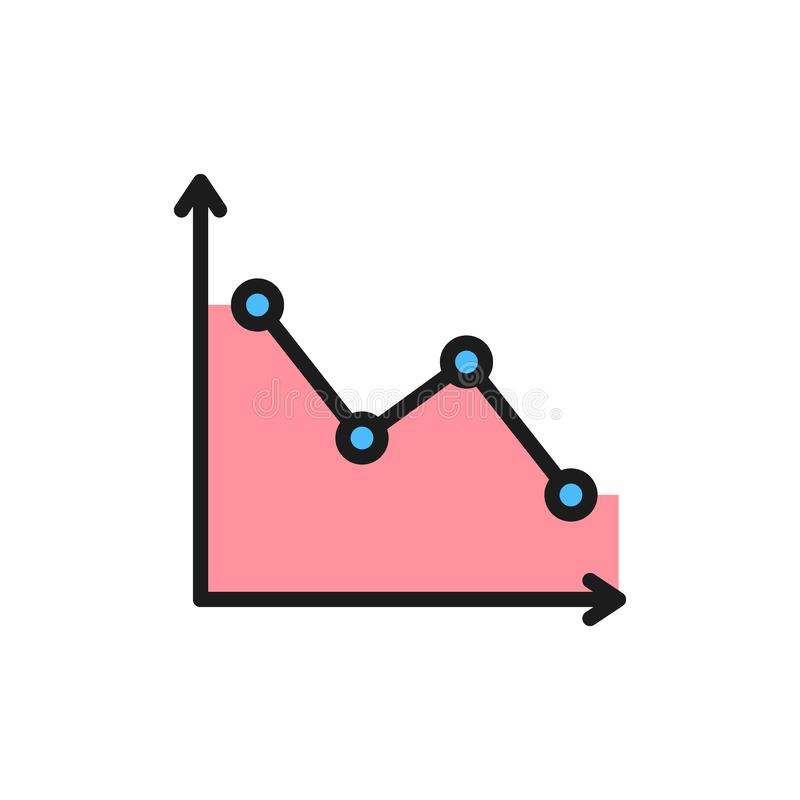 Down graph, analyzing chart patterns flat color icon. vector illustration