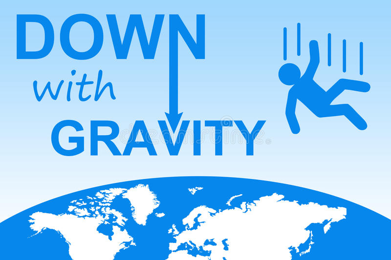 Down with gravity. Falling out of space because of laws of gravity vector illustration