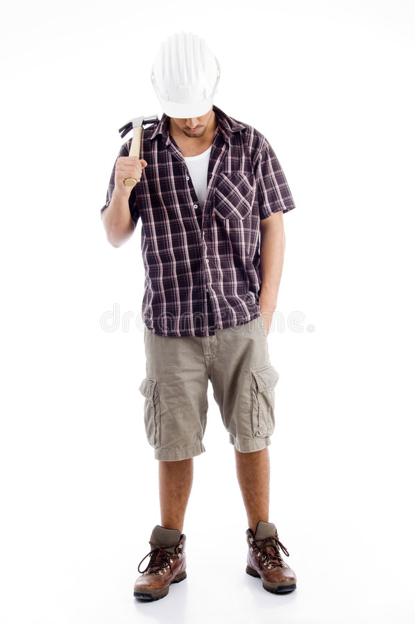 Download Down Head Architect Holding Hammer Stock Image - Image: 7361707