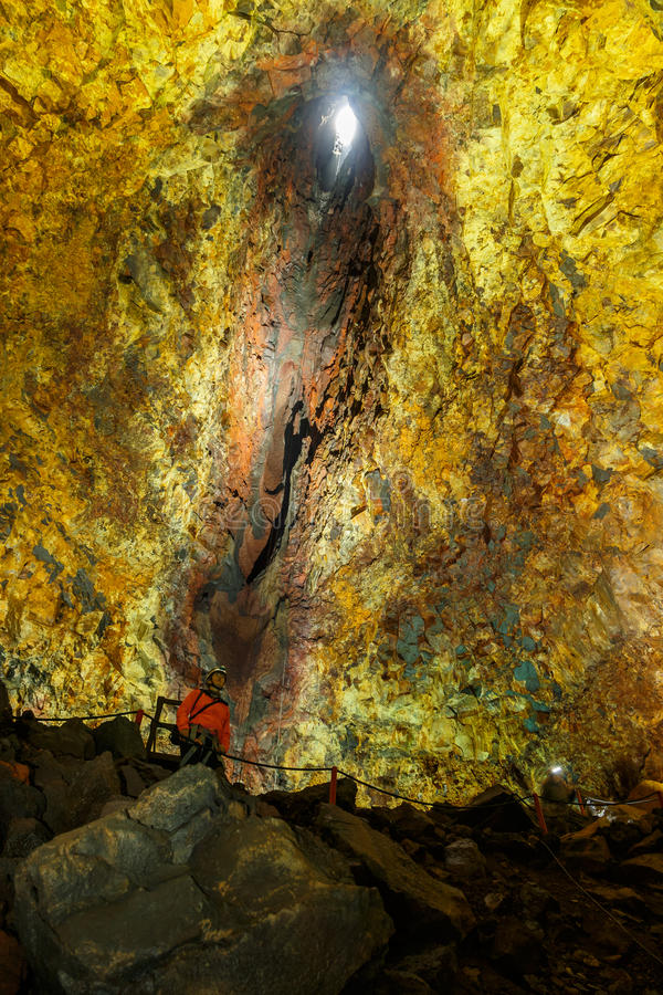 Down inside a volcano royalty free stock photography