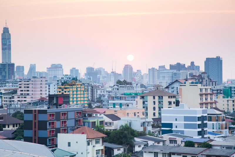 down over the city of Bangkok, Thailand stock photography