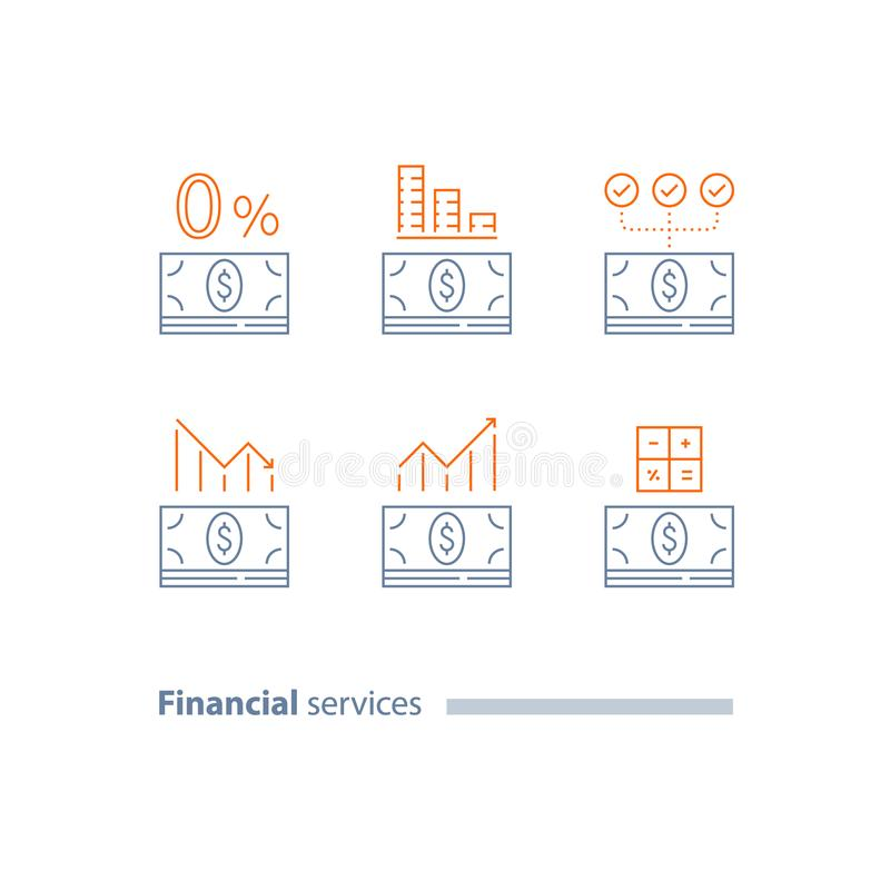 Down payment, refinance loan, credit approval, investment dividends, decrease and increase graph, cost calculating, interest rate stock illustration
