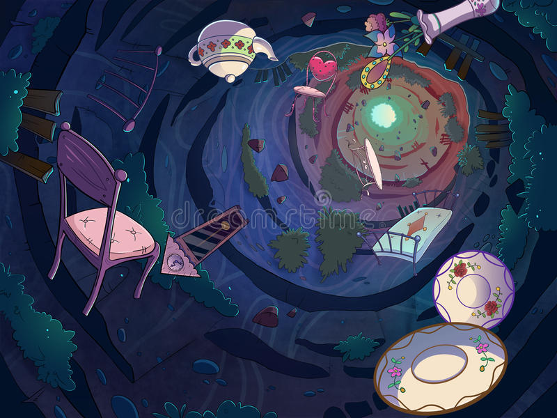 Down the rabbit hole. Falling in the rabbit hole with a bunch of objects. Cartoon stylish raster illustration stock illustration