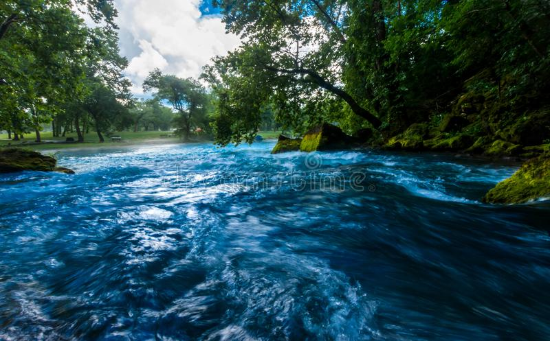 Big Springs, Missouri. Down river view of Big Springs, the Biggest flowing spring in Missouri royalty free stock photo