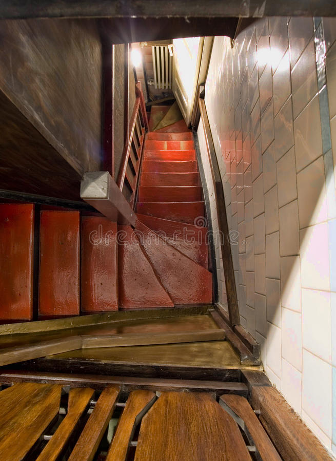 Down the stairs stock photography