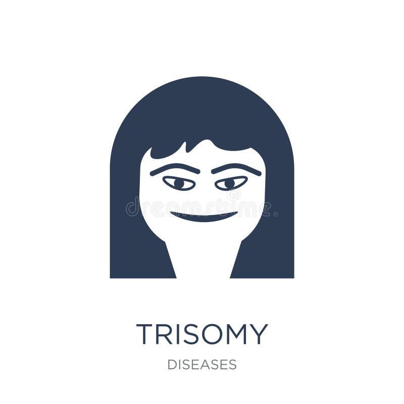 Down-Syndrom-Ikone Modische flache Vektor Down-Syndrom-Ikone auf weißem backgroun stock abbildung
