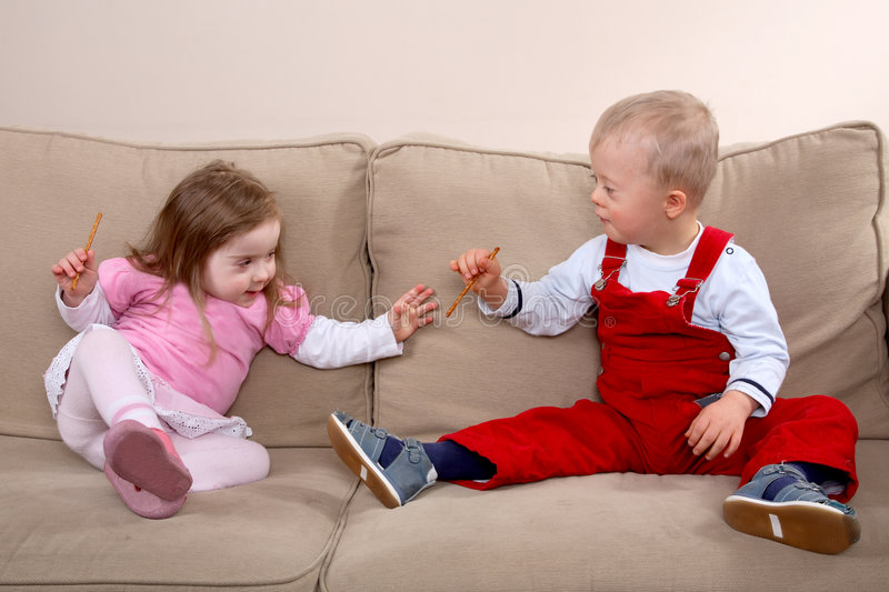 Down syndrome children royalty free stock photo
