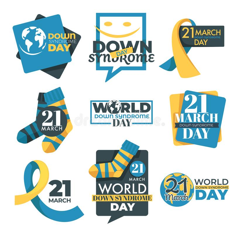 Down syndrome day isolated icon slow development and mental disorder royalty free illustration