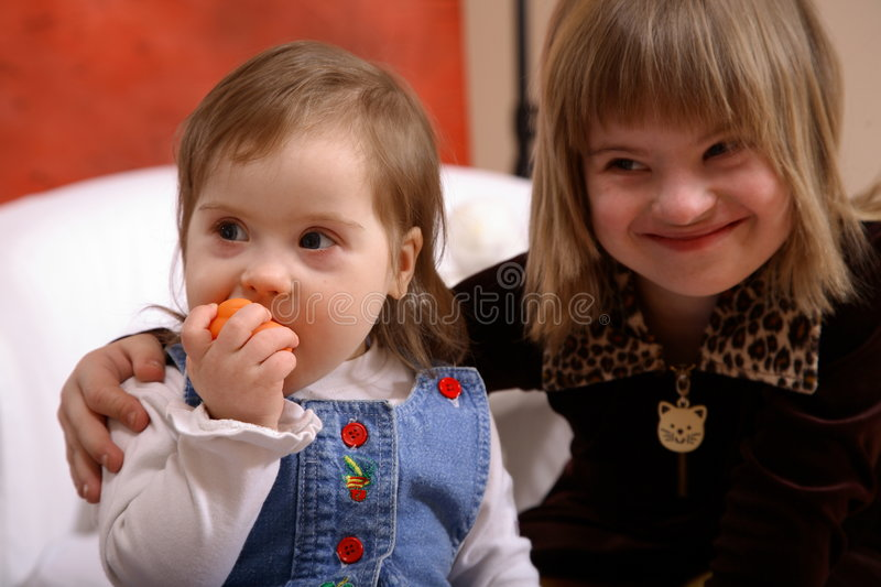 Down Syndrome Girls royalty free stock image