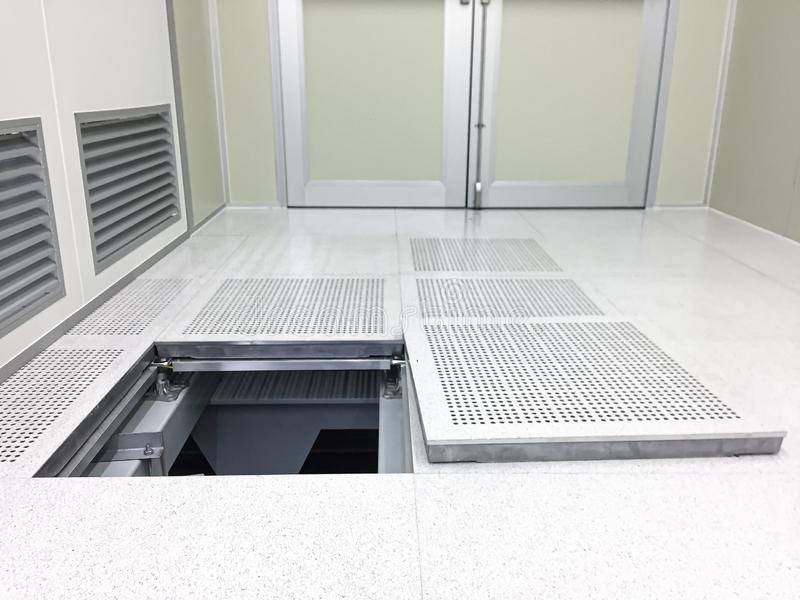 Down to under raised floor at Clean room.  royalty free stock image