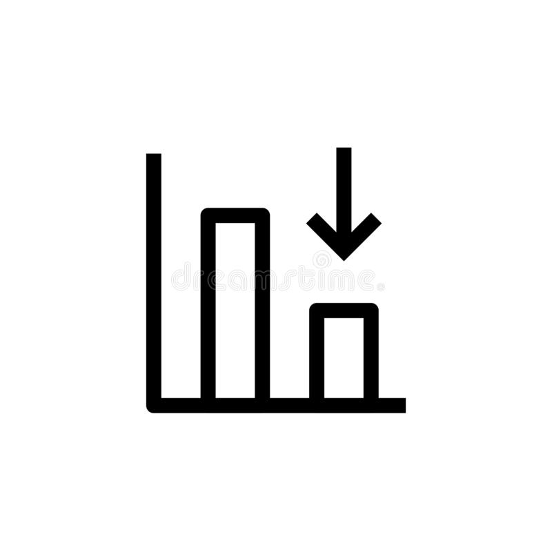 Down trend degenerate bar chart icon design with falling down arrow symbol. simple clean line art professional business management. Concept vector illustration vector illustration
