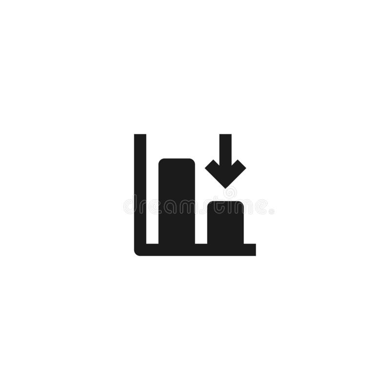 Down trend degenerate bar chart icon design with falling down arrow symbol. simple clean professional business management concept. Vector illustration design vector illustration