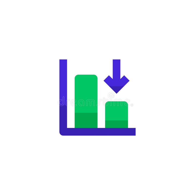 Down trend degenerate bar chart icon design with falling down arrow symbol. simple clean professional business management concept. Vector illustration design royalty free illustration