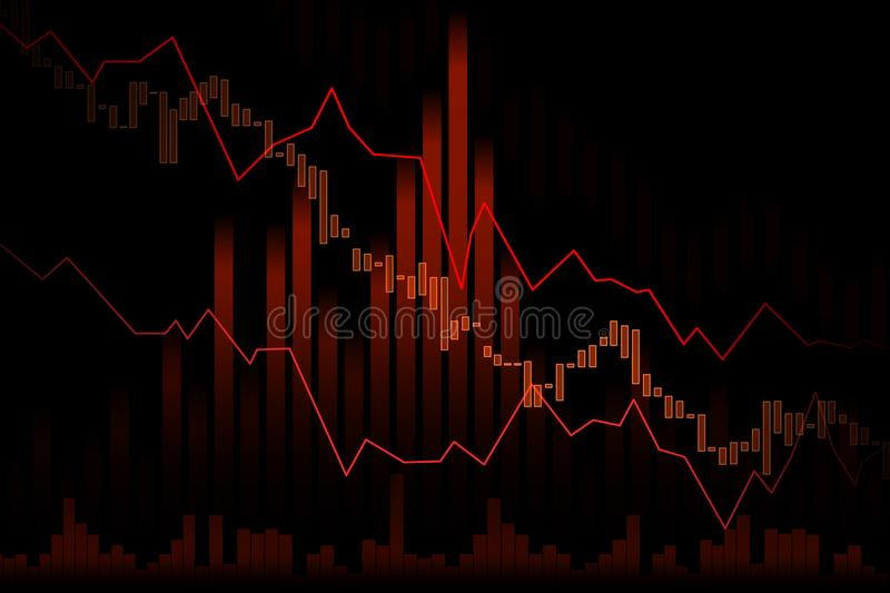 Down trend Stock market or forex trading graph in graphic concept royalty free illustration