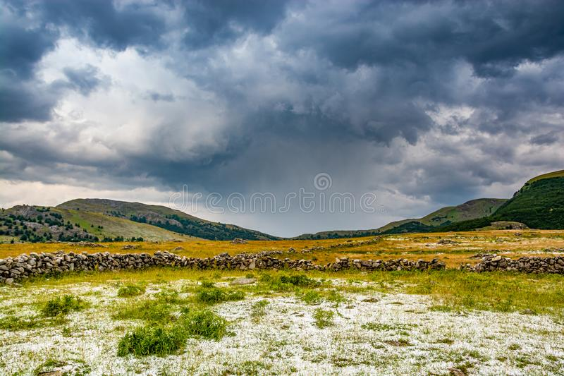 Downburst with hails in Bosnian mountain near Lukomir.  royalty free stock photo