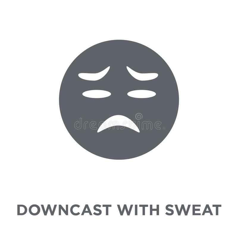 Downcast With Sweat emoji icon from Emoji collection. stock illustration